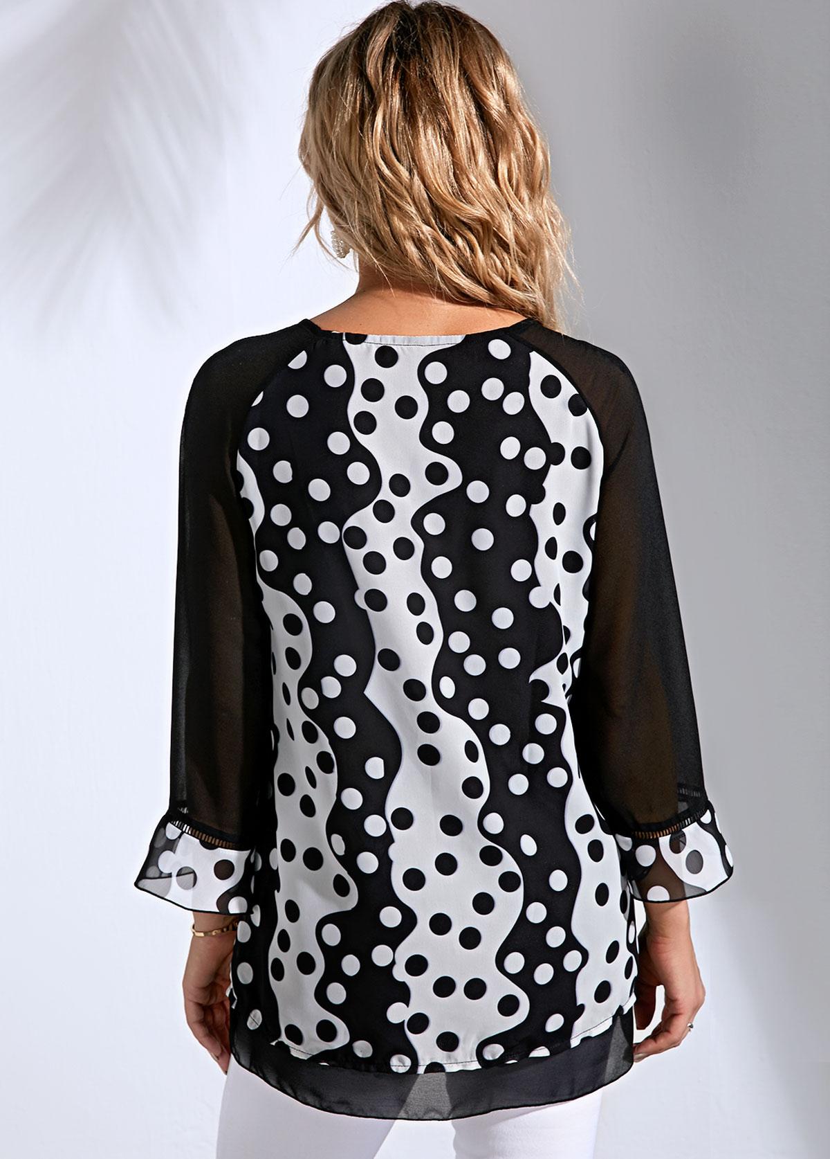 Polka Dot Color Block Three Quarter Sleeve T Shirt