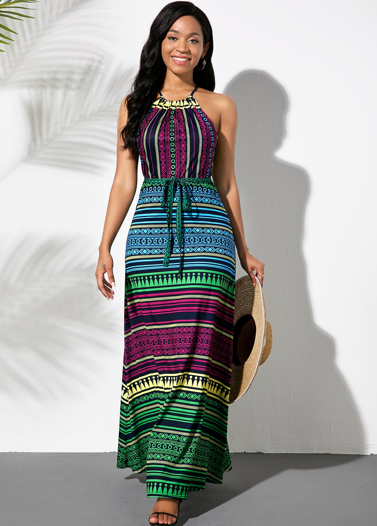 Striped Multicolor Bowknot Sash Dress