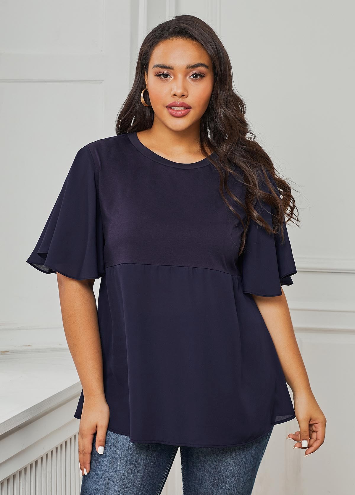Butterfly Sleeve Round Neck Plus Size Blouse