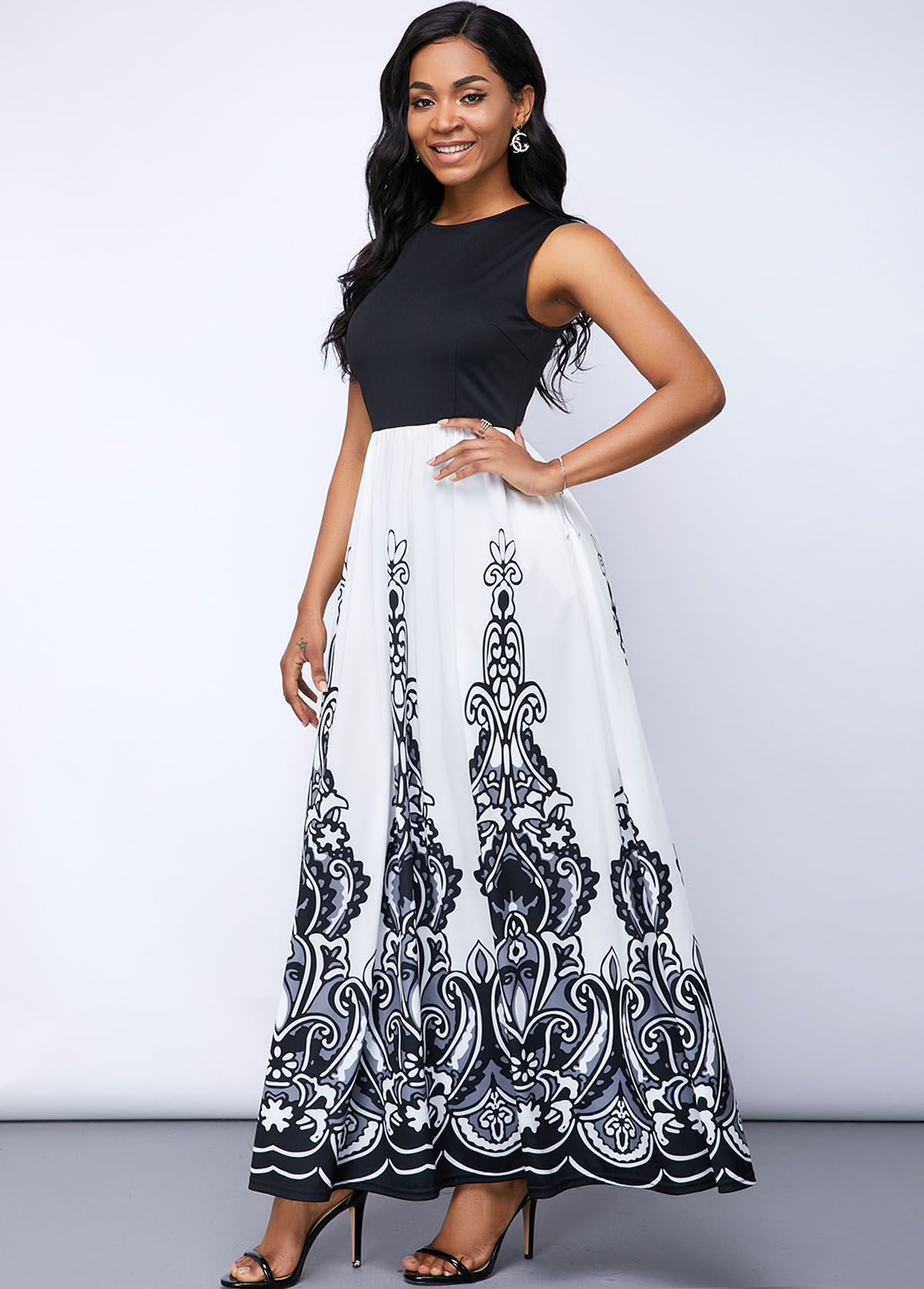 Color Block Maxi Party Printed Dress