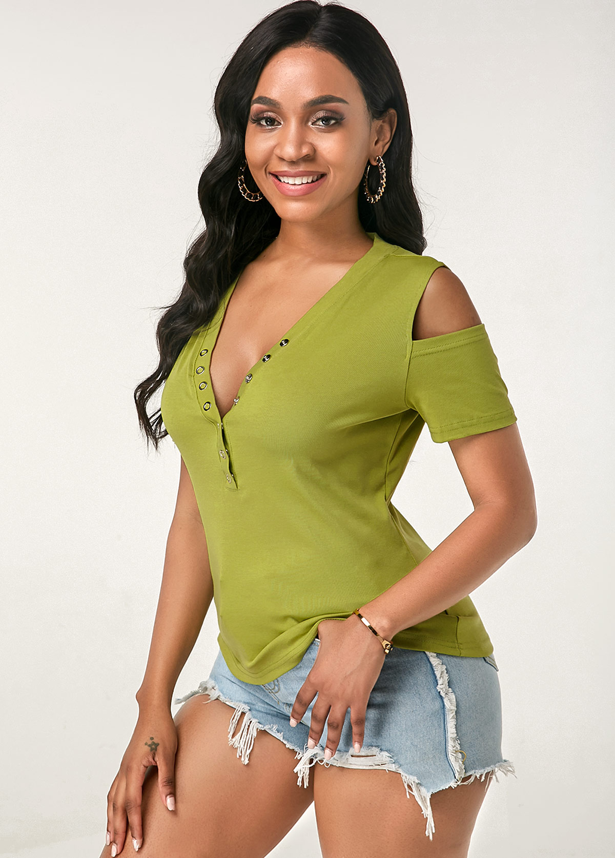 Single Breasted V Neck Cold Shoulder Green T Shirt