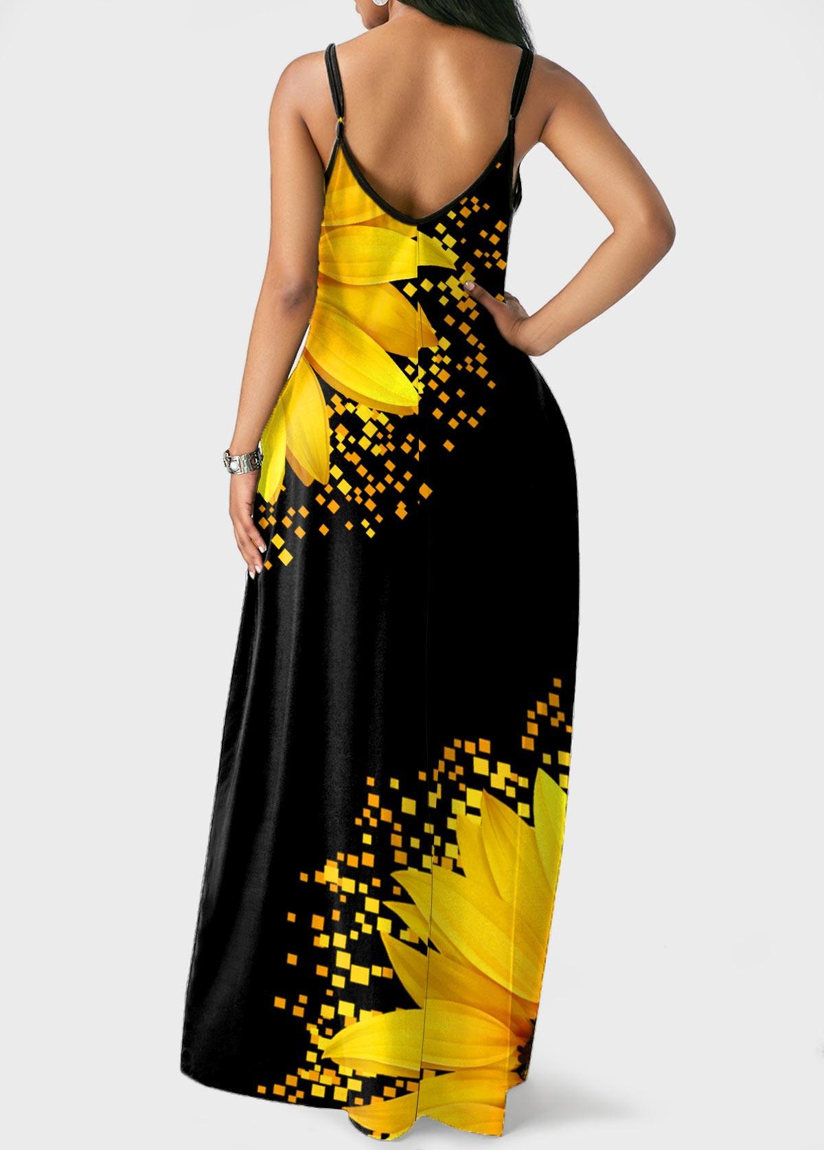 Spaghetti Strap Sunflower Print Side Pocket Maxi Dress