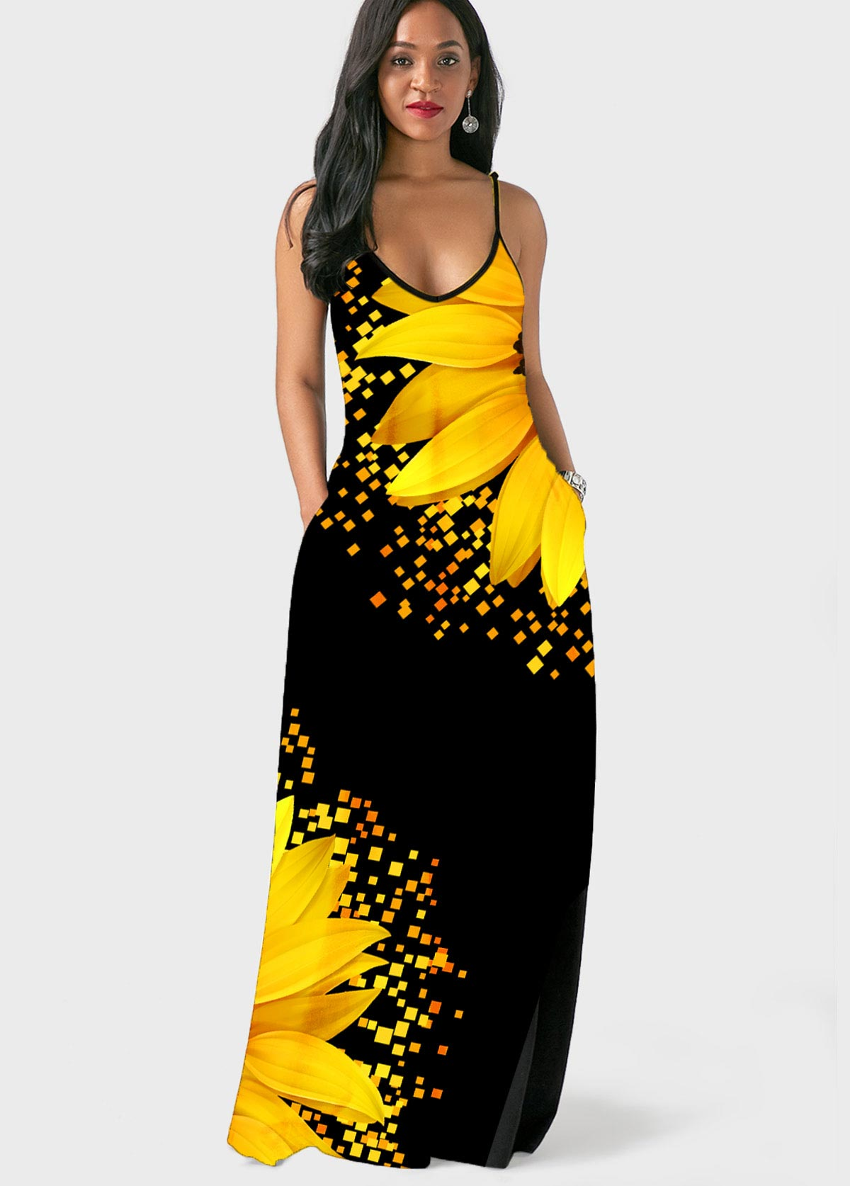Spaghetti Strap Sunflower Print Side Pocket Maxi Dress