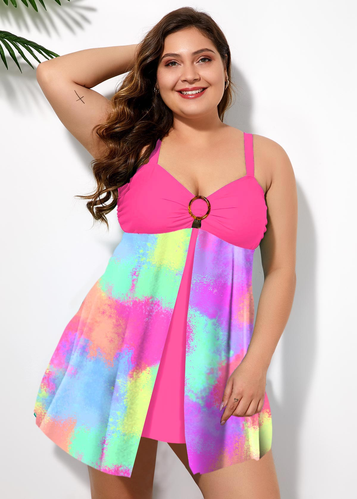 Printed Ring Detail Plus Size Swimwear Top