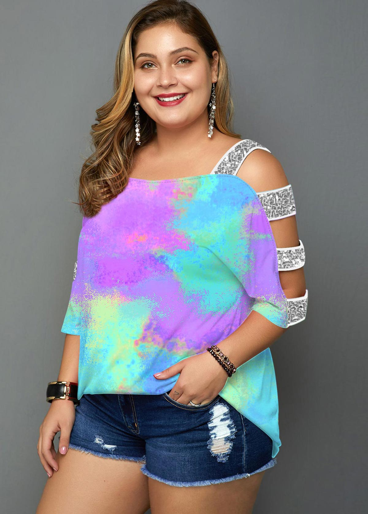 Ladder Cutout Tie Dye Plus Size T Shirt