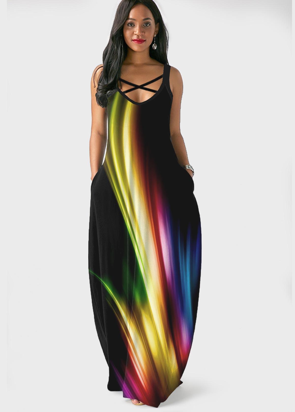 Side Pocket Spaghetti Strap Printed Maxi Dress