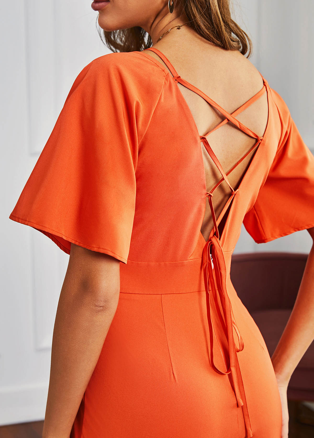 Short Sleeve Orange Strappy Back Romper