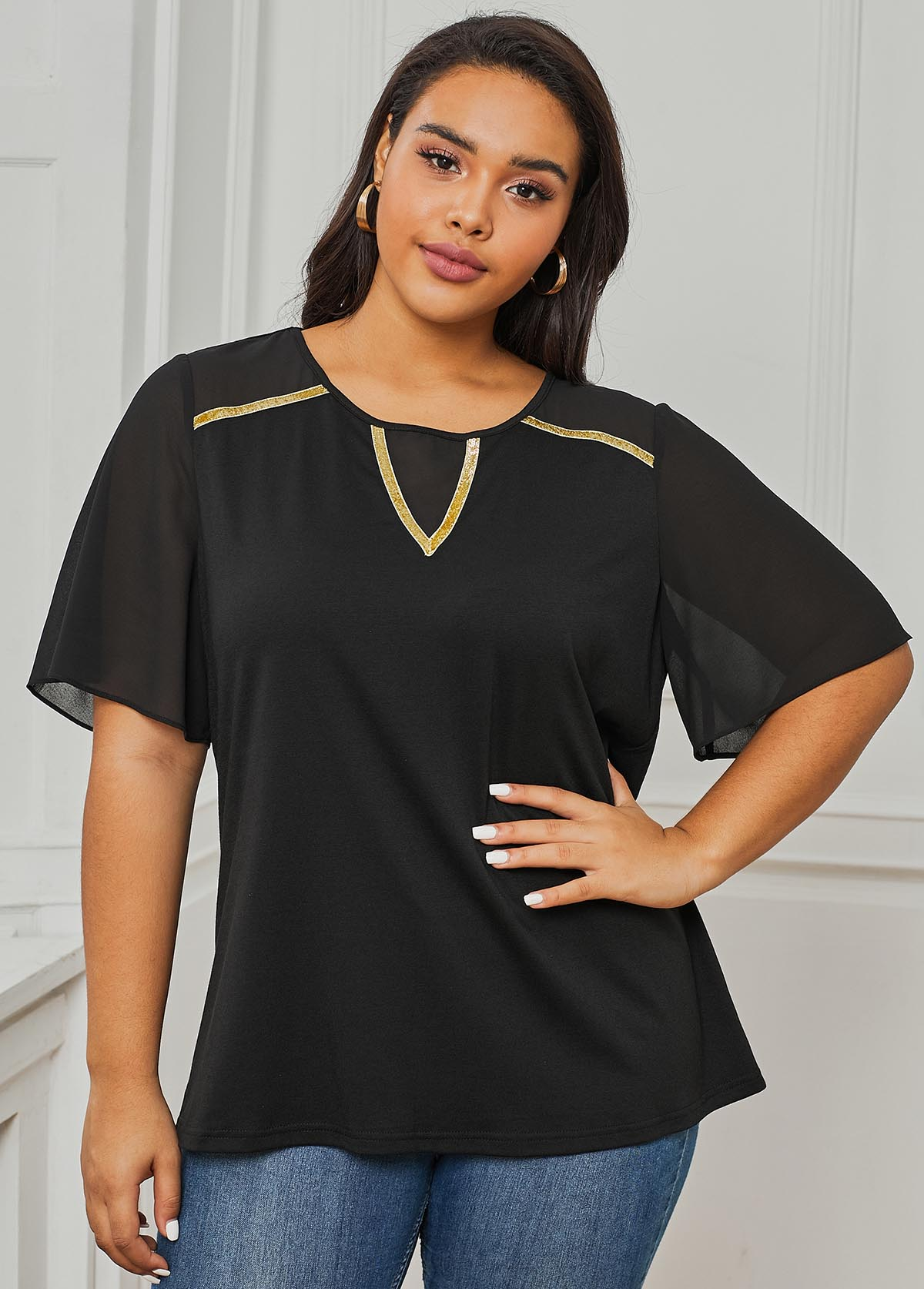 Plus Size Contrast Stitching Half Sleeve T Shirt