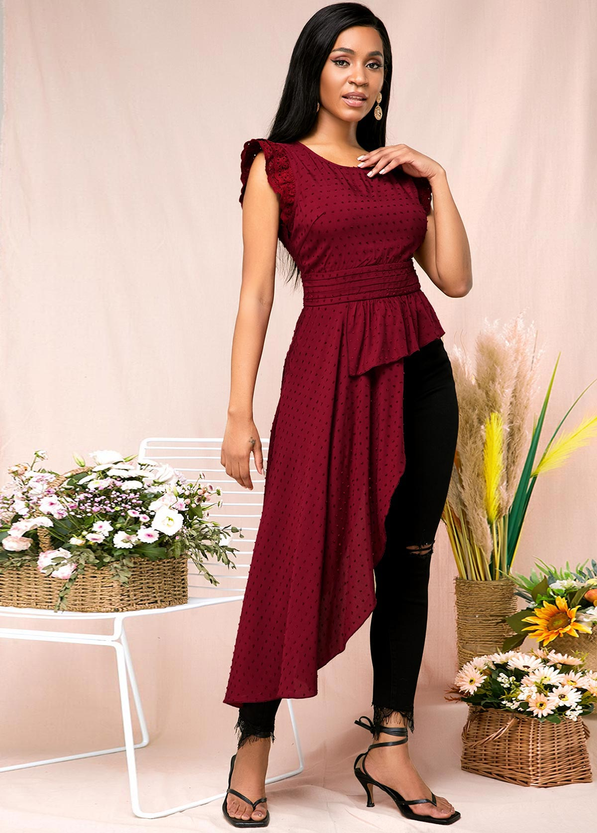 Fashion Ruffle Armhole Asymmetric Hem Red Shirt