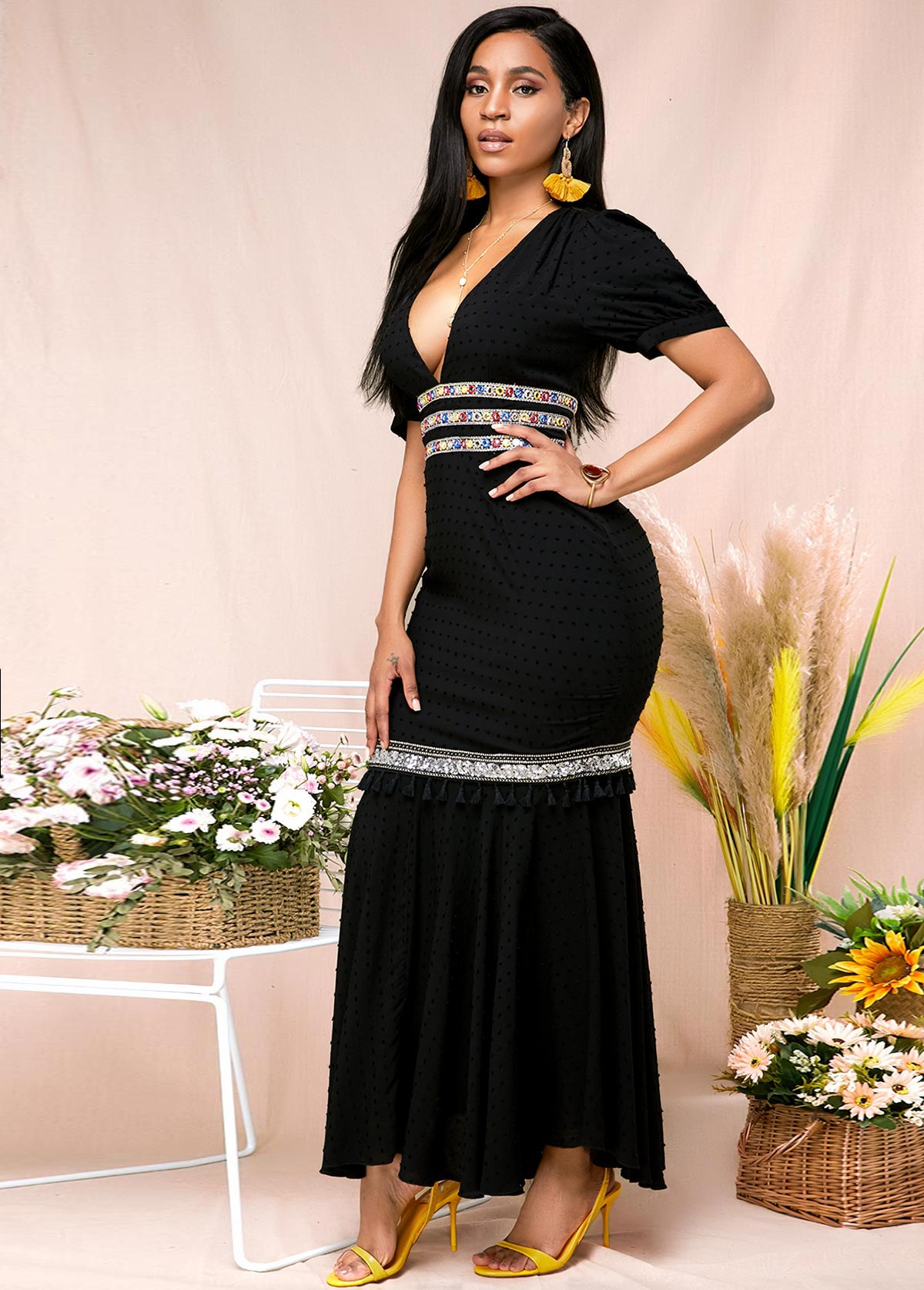 Elegant V Neck Maxi Half Sleeve Black Mermaid Dress