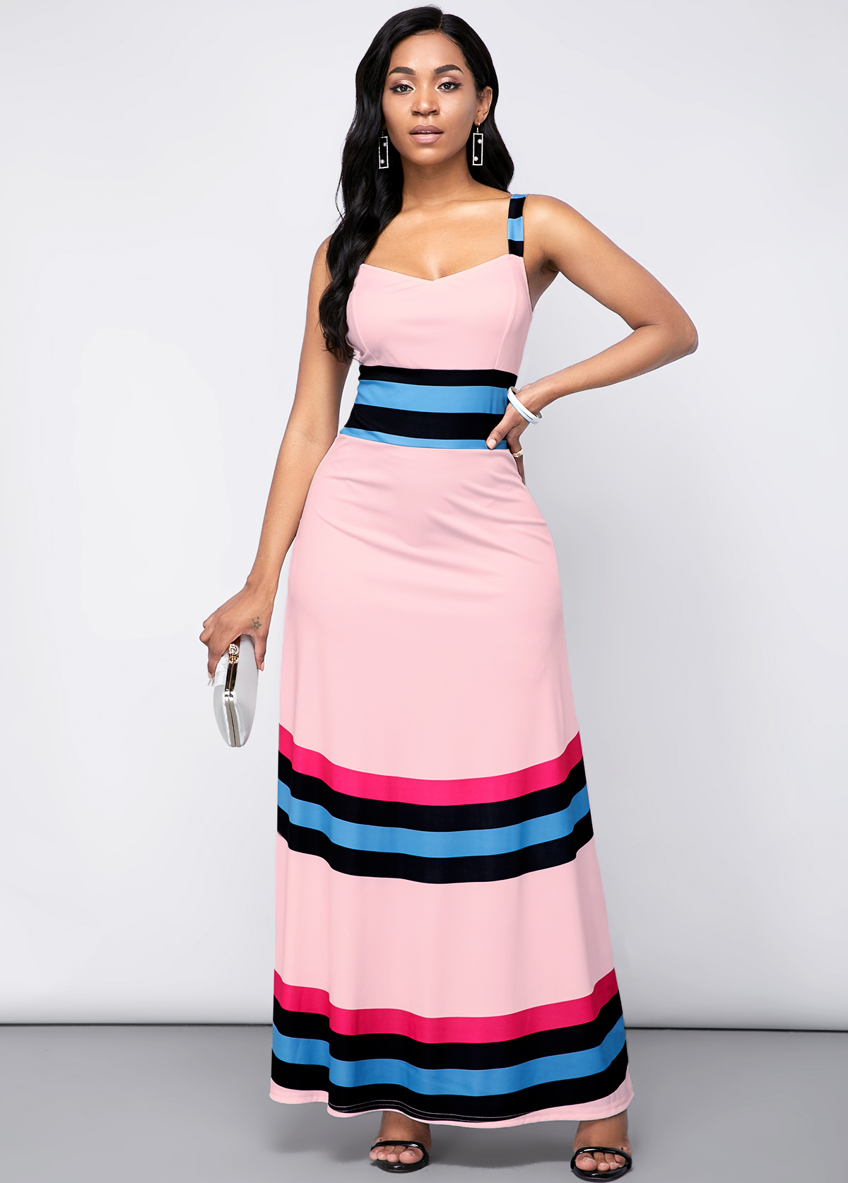 High WaRainbow Stripe Spaghetti Strap ist Dress