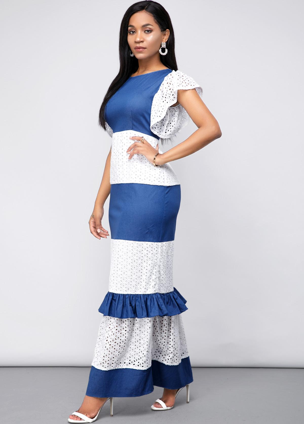 Short Sleeve Lace Panel Maxi Dress