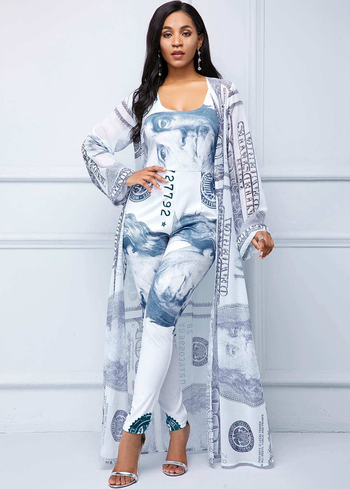 Coin Print Long Sleeve Chiffon Cardigan