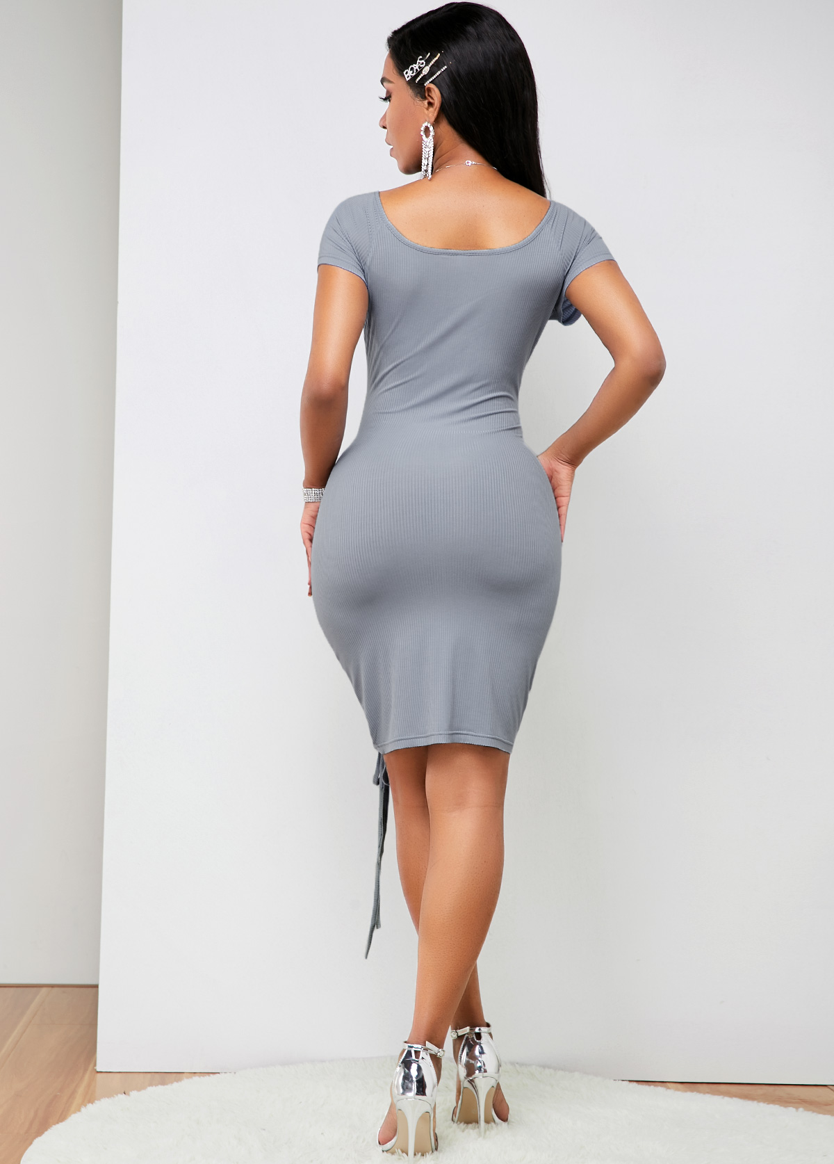 Ruched Drawstring Detail Bowknot Front Soft Dress