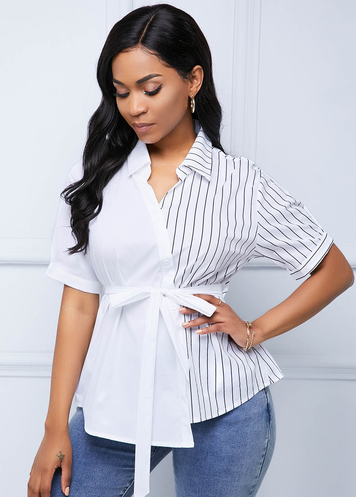Belted Asymmetric Hem Stripe Print Blouse