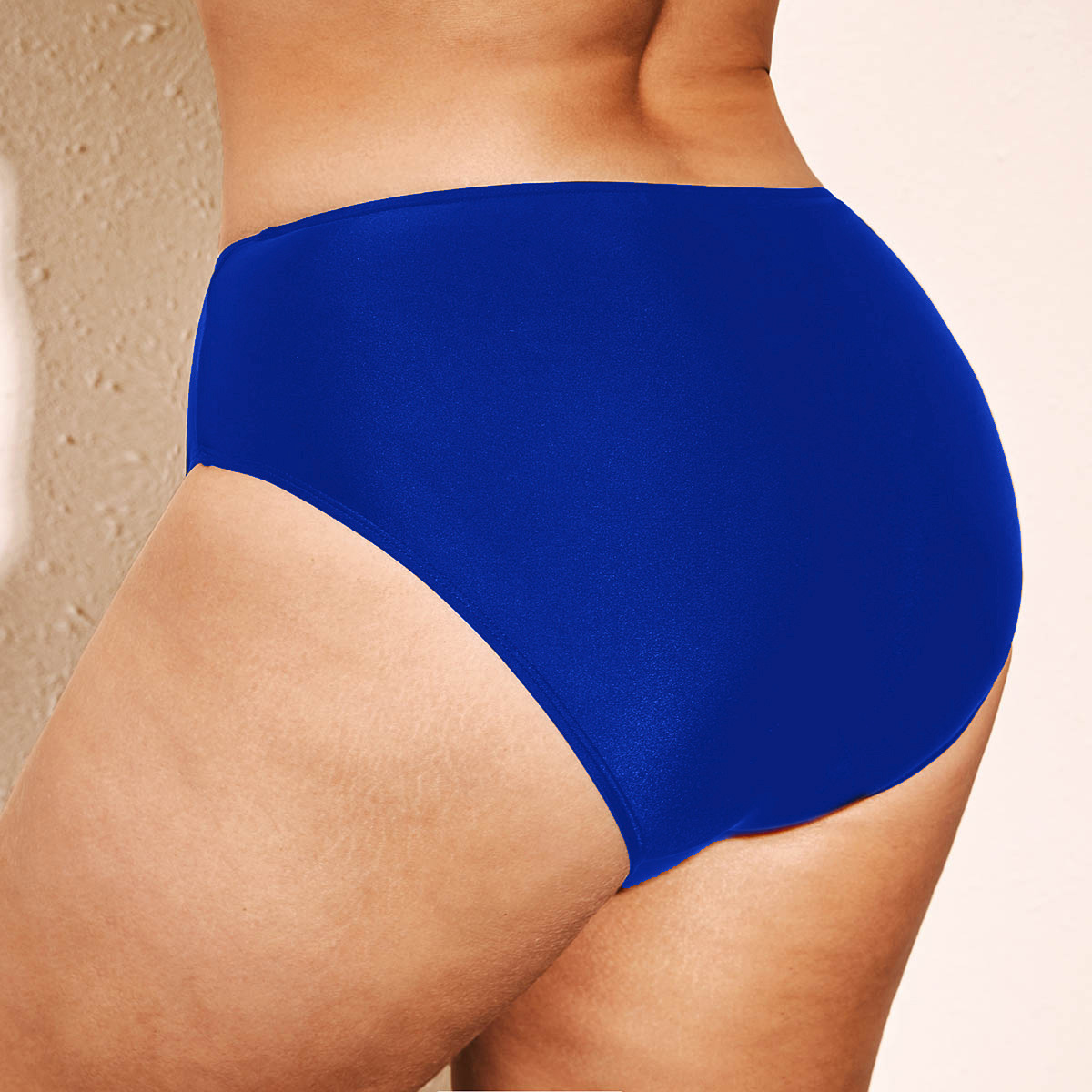 Blue Plus Size Low Waist Swimwear Panty