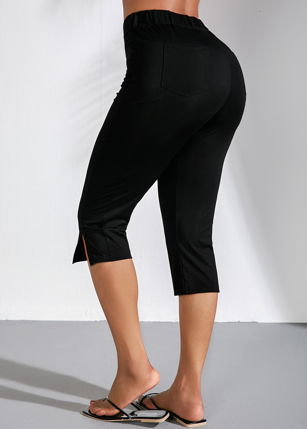 Side Slit High Waist Black Cropped Pants