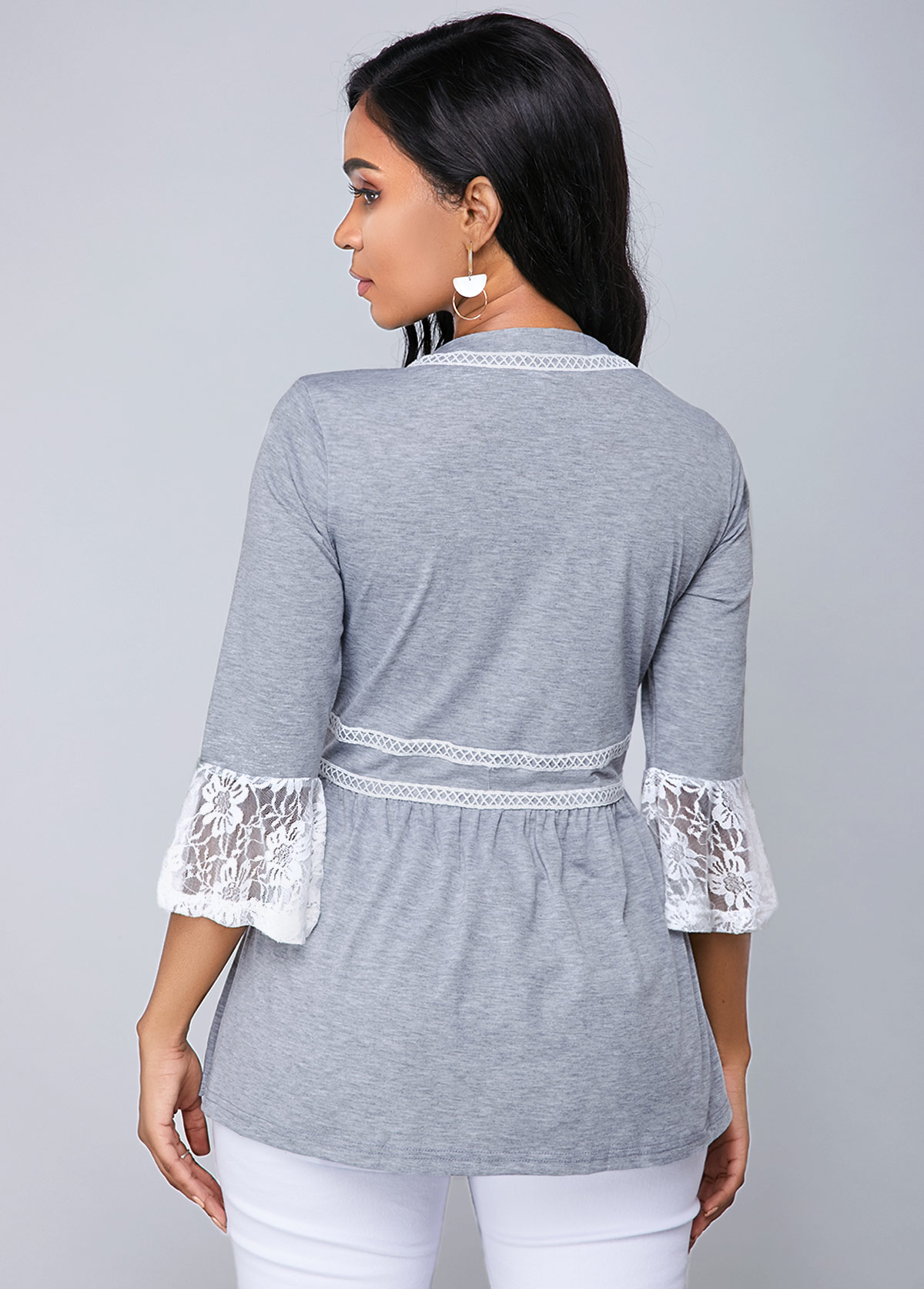 Button Up Flare Cuff Lace Panel T Shirt