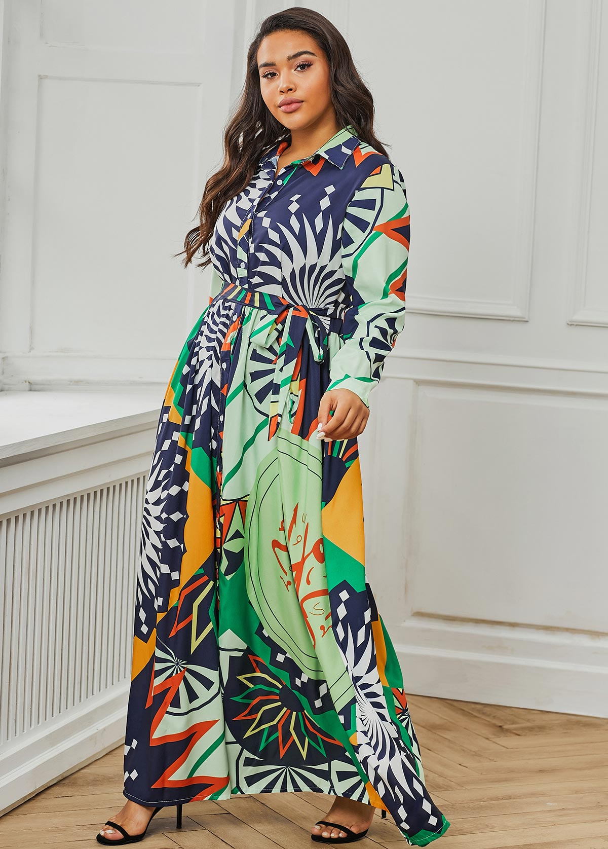 Printed Belted Plus Size Maxi Dress