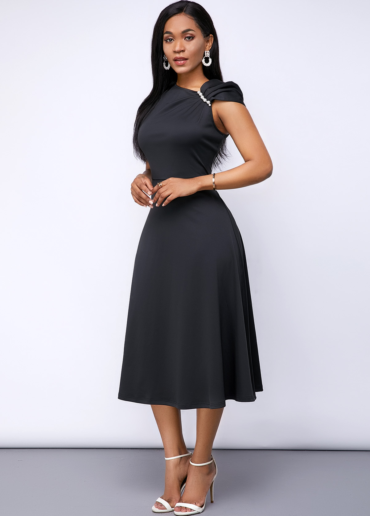 Shirred Shoulder Cap Sleeve Black Dress