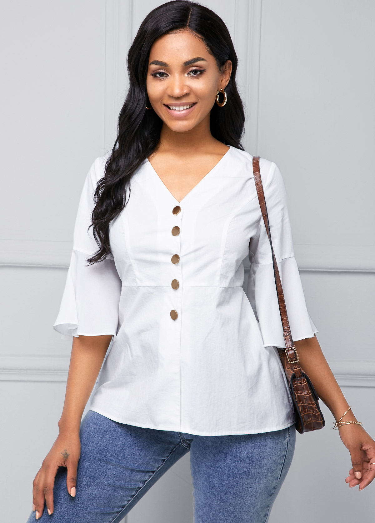 White Flare Sleeve Button Up Blouse