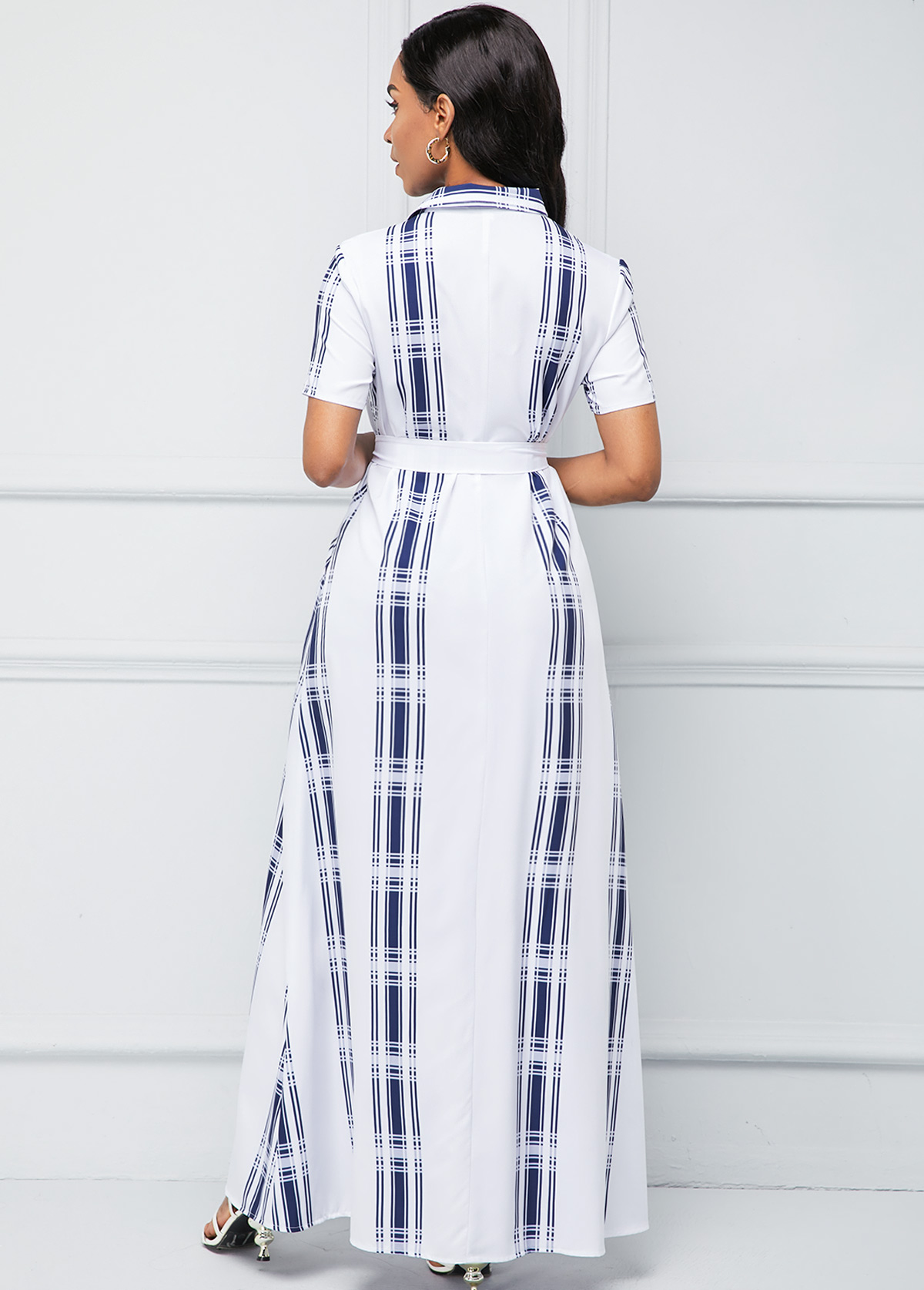 Geometric Print Button Up Turndown Collar Belted Dress