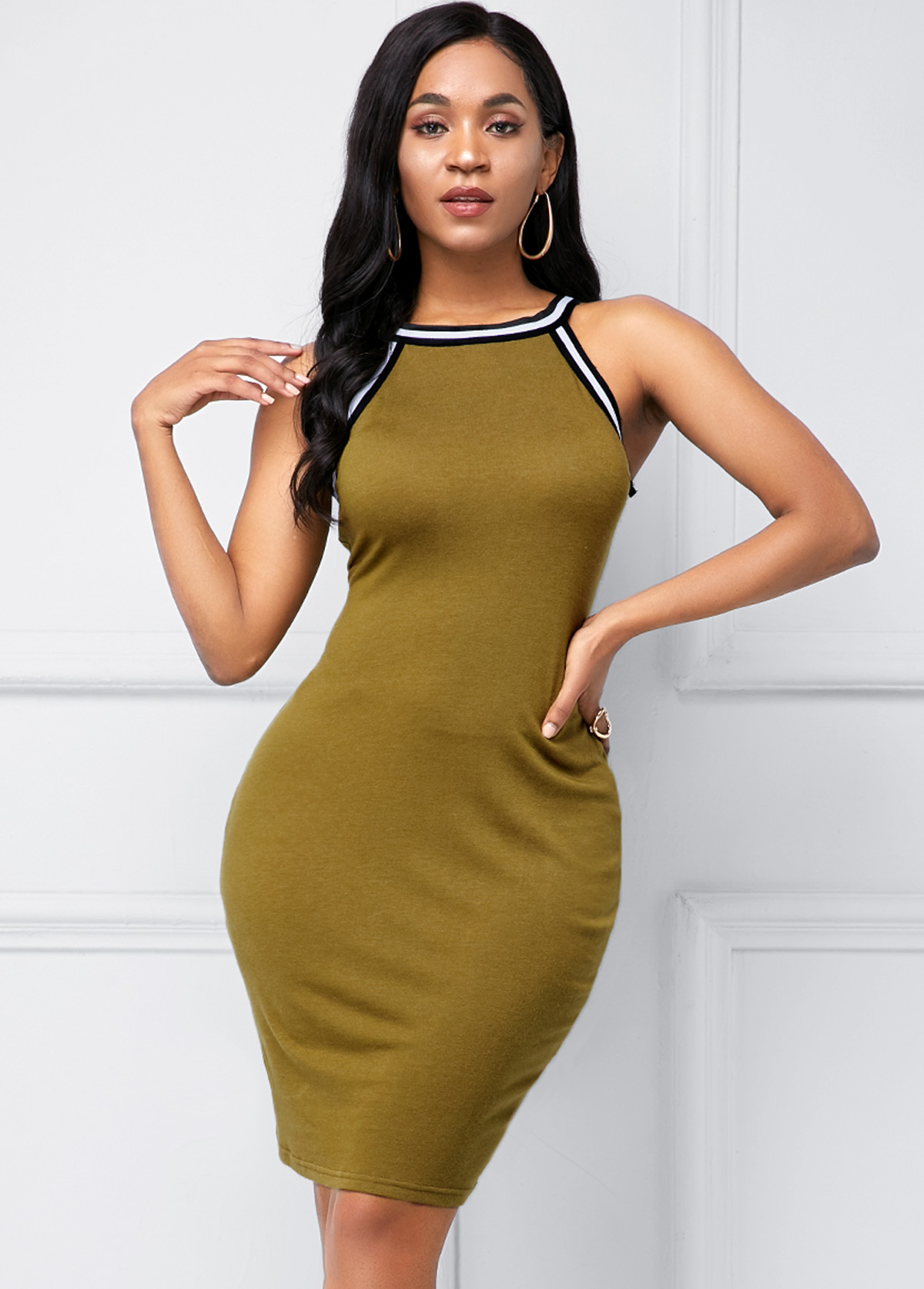 Bib Neck Army Green Contrast Piping Soft Dress
