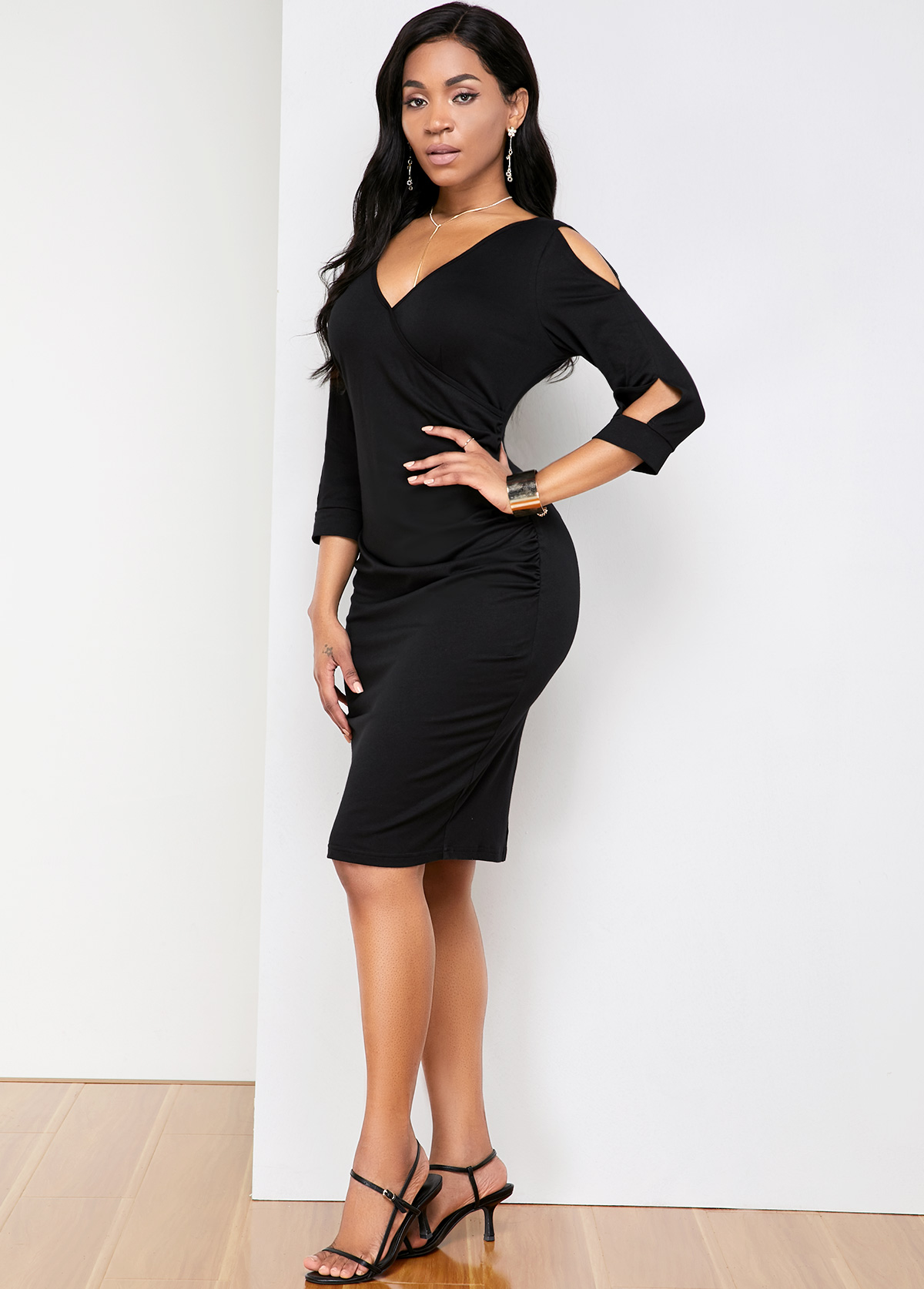 V Neck Back Slit Cold Shoulder Comfort Dress