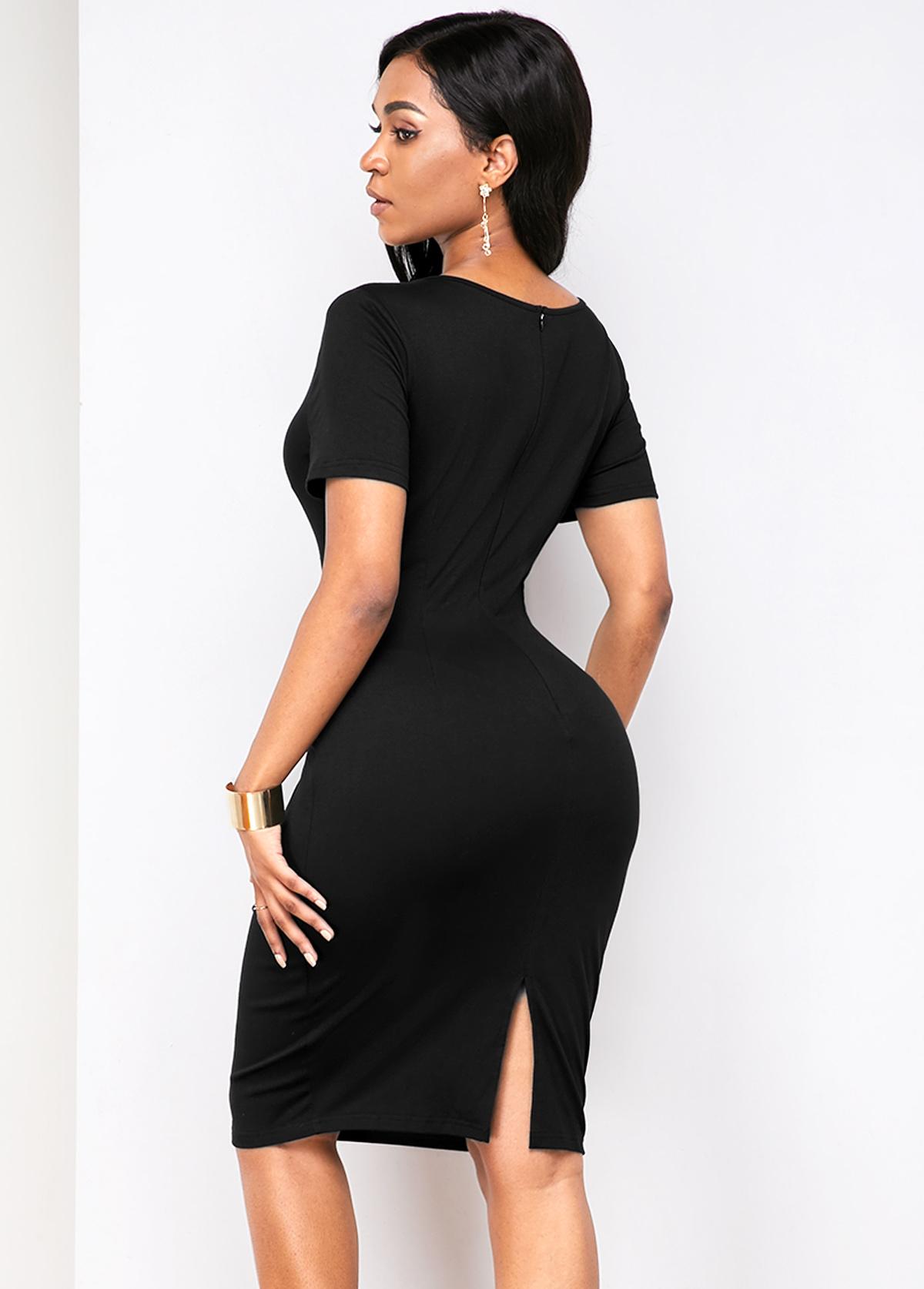Short Sleeve Back Slit Cutout Front Dress