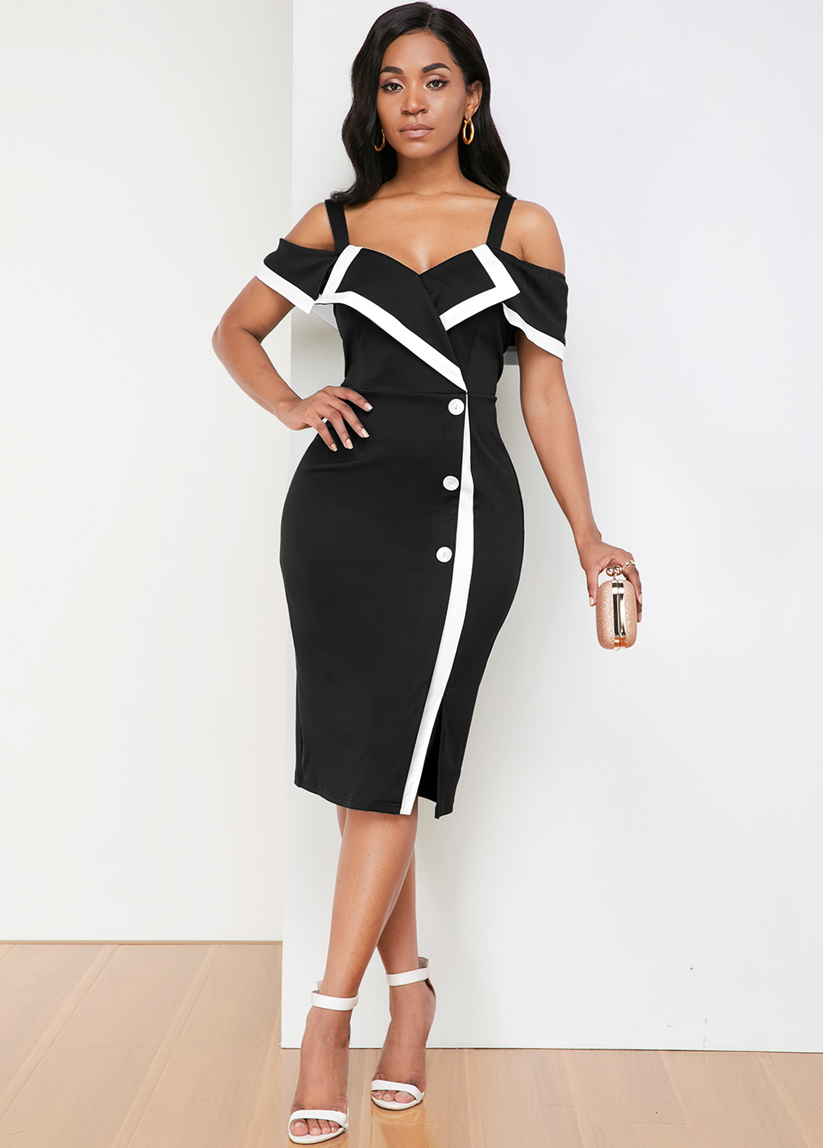Strappy Cold Shoulder Contrast Piping Dress