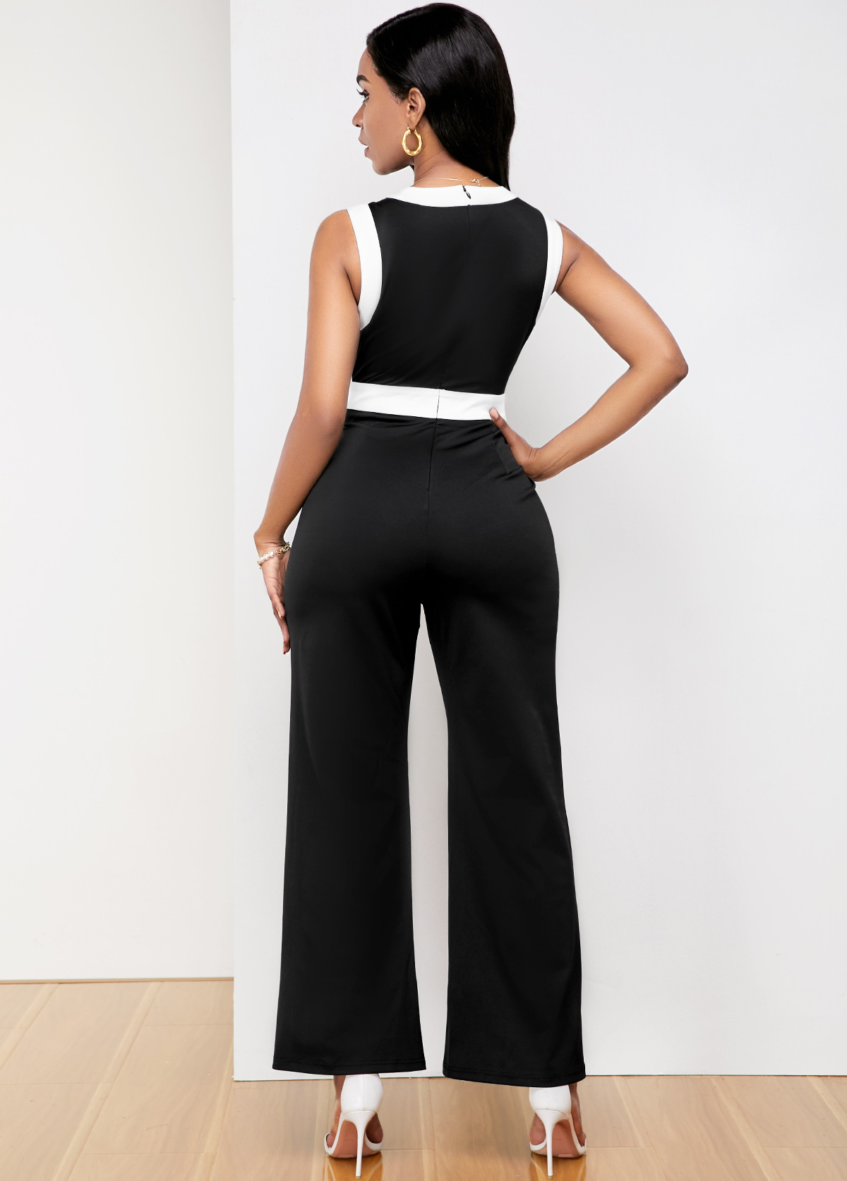 Black Contrast Piping Sleeveless Pocket Jumpsuit