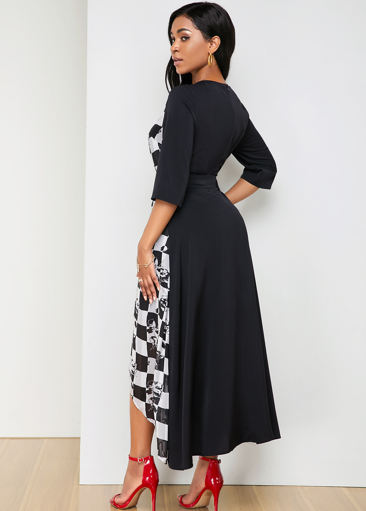 Belted Asymmetric Hem Plaid Print Dress