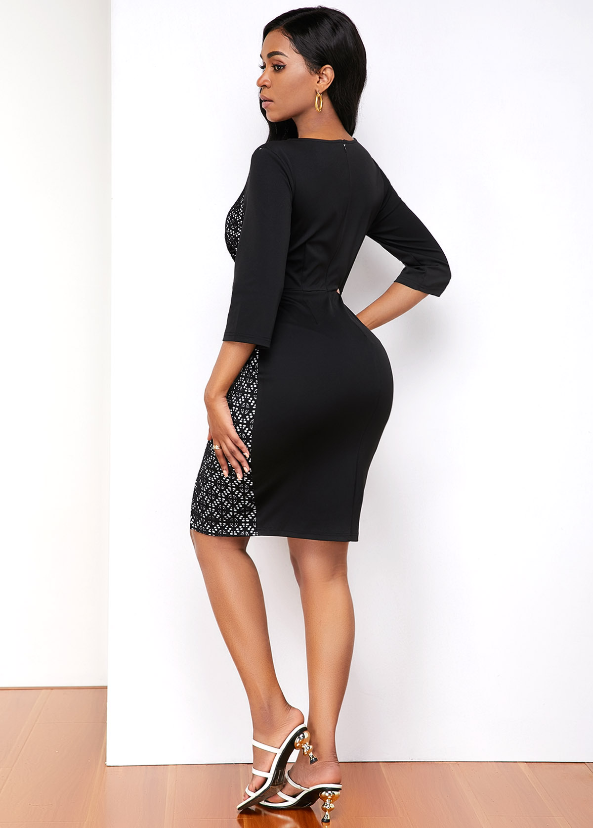 Inclined Button Lace Panel Contrast Stitch Dress