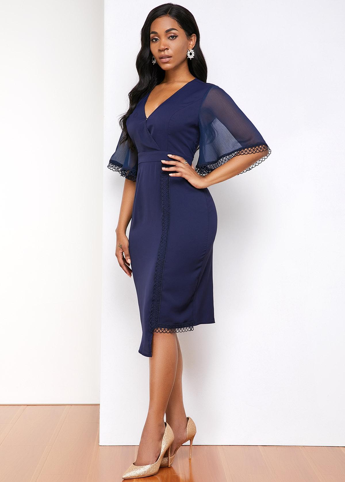 V Neck Asymmetric Hem Lace Panel Dress