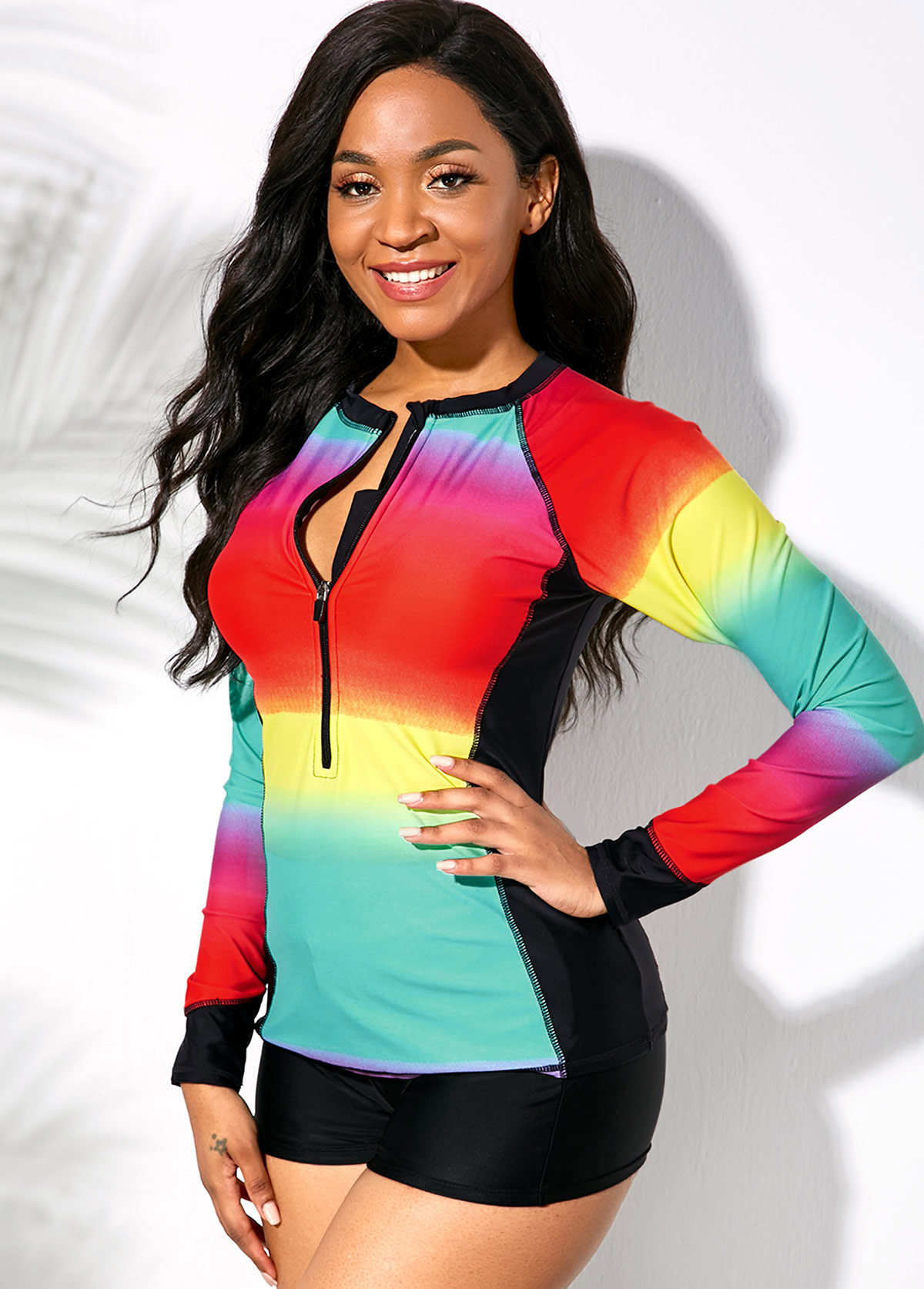 Quarter Zip Long Sleeve Rainbow Color Swimwear Top