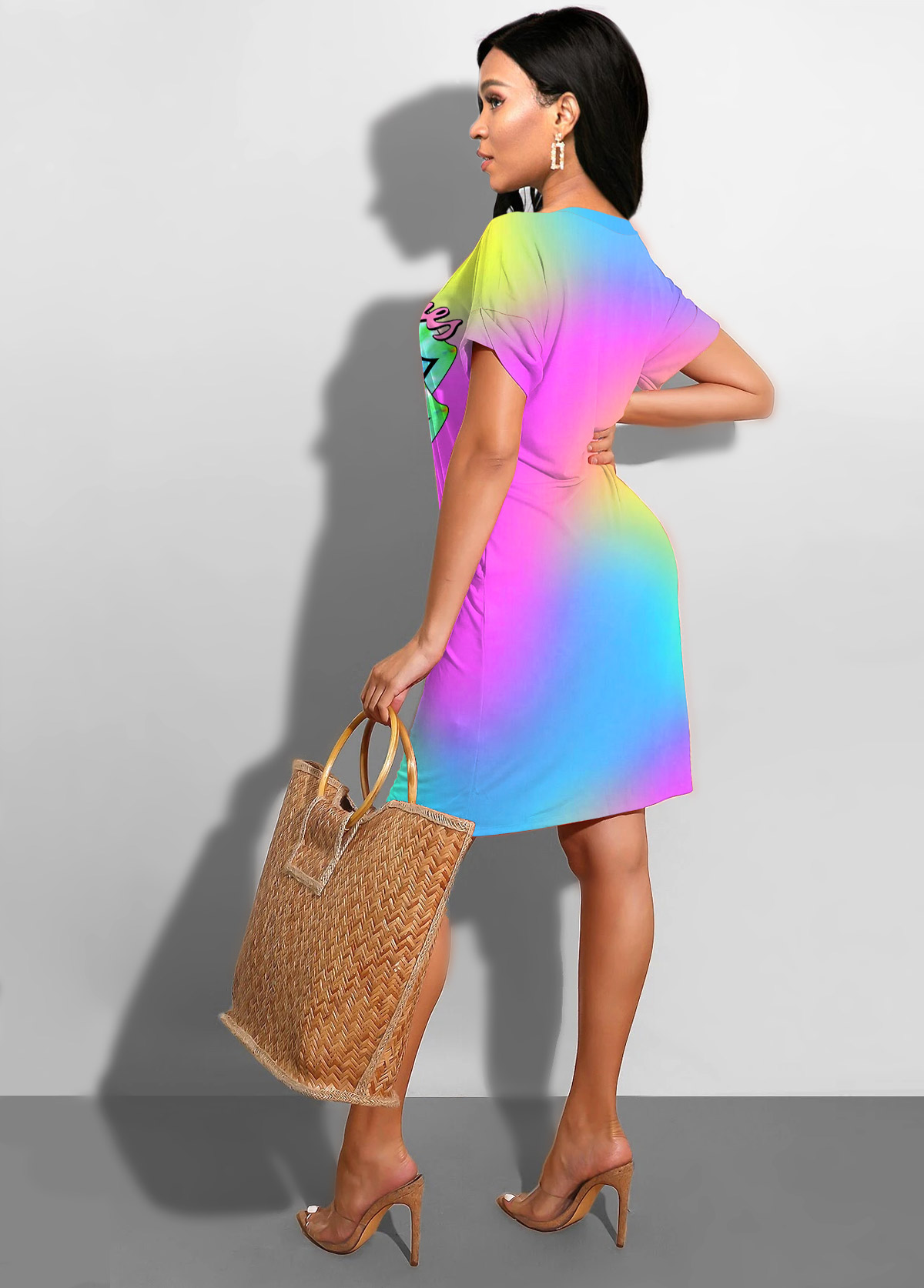 Printed Rainbow Color Side Pocket Dress