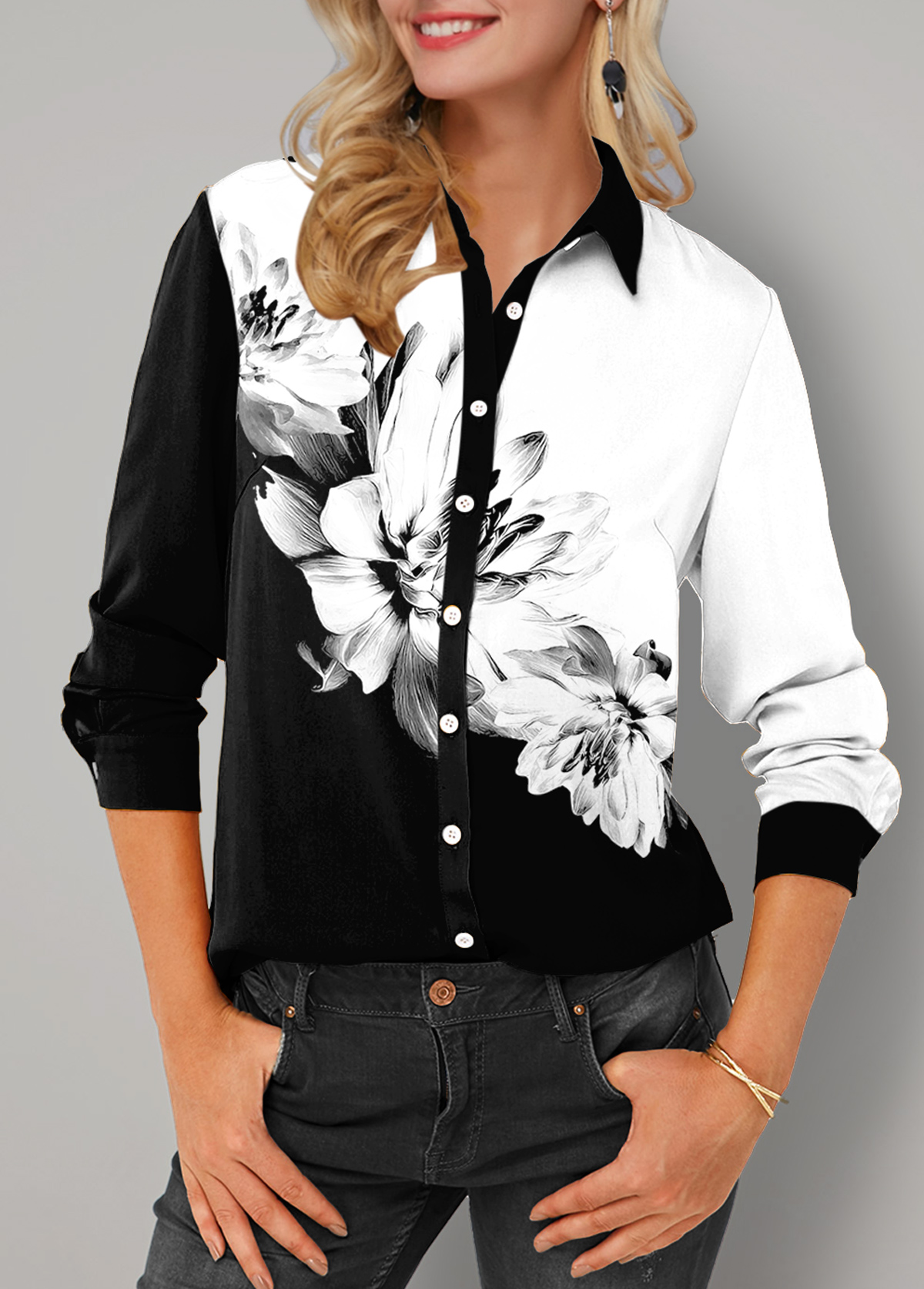 Button Up Turndown Collar Floral Print Blouse