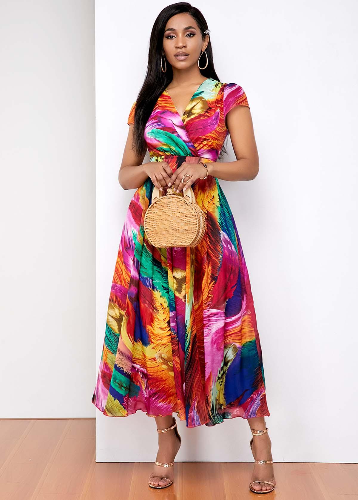 Rainbow gradient print V Neck Dress