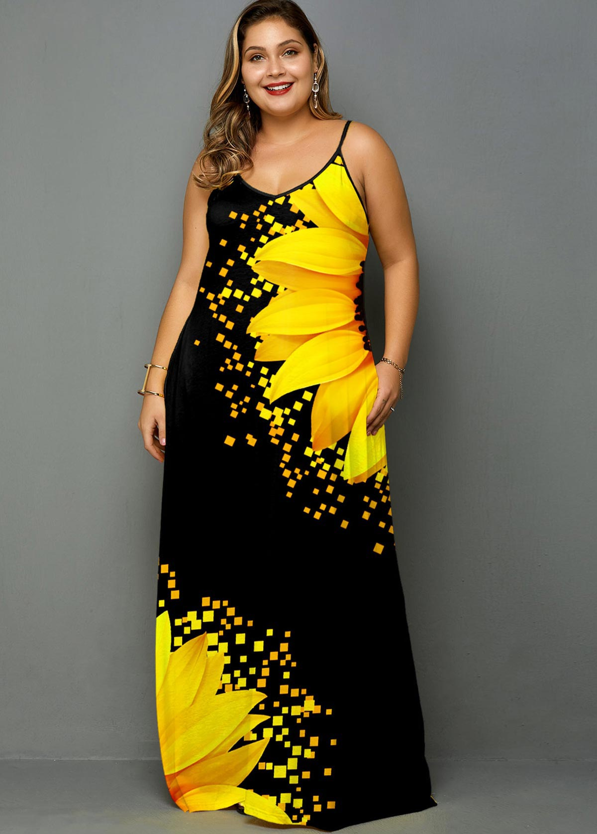Plus Size Spaghetti Strap Sunflower Print Side Pocket Maxi Dress