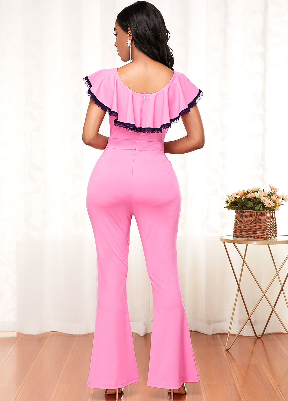 Contrast Piping Ruffle Hem Pink Flare Jumpsuit