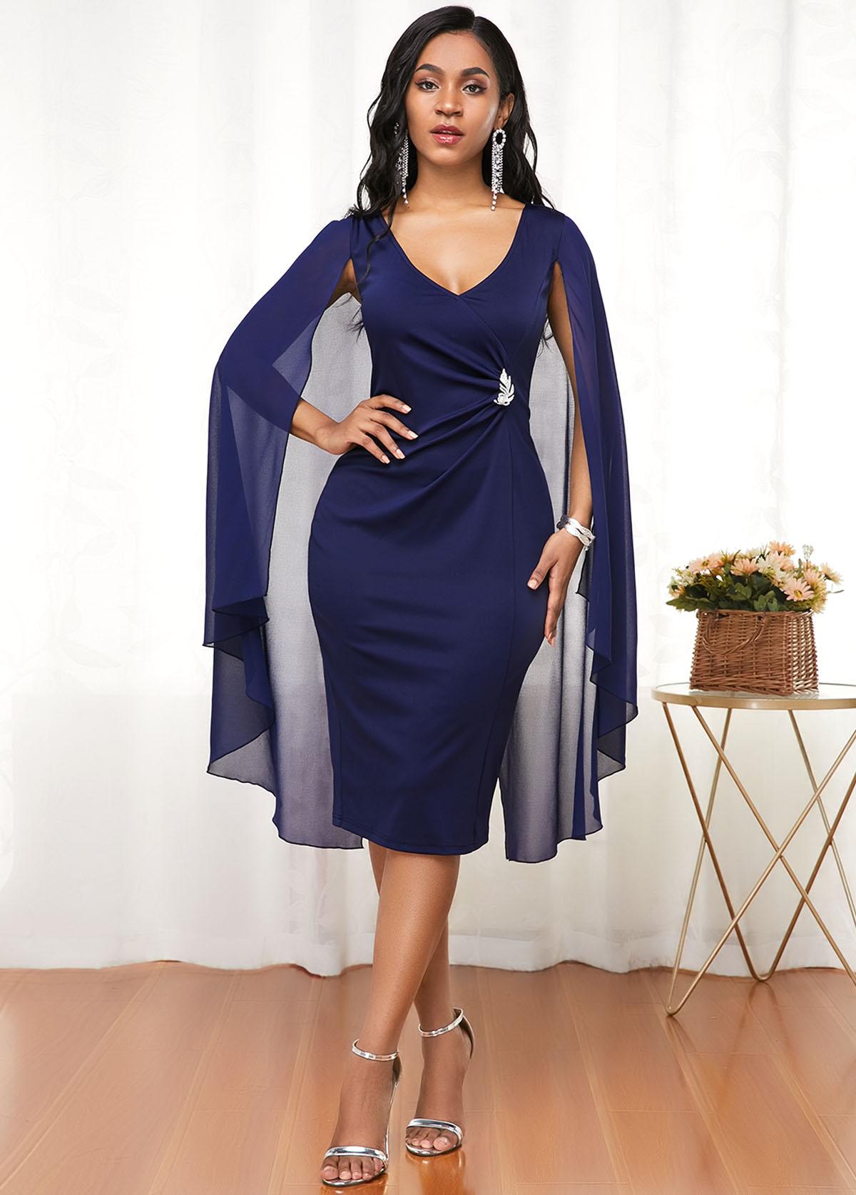 Navy Blue Cape Shoulder V Neck Dress
