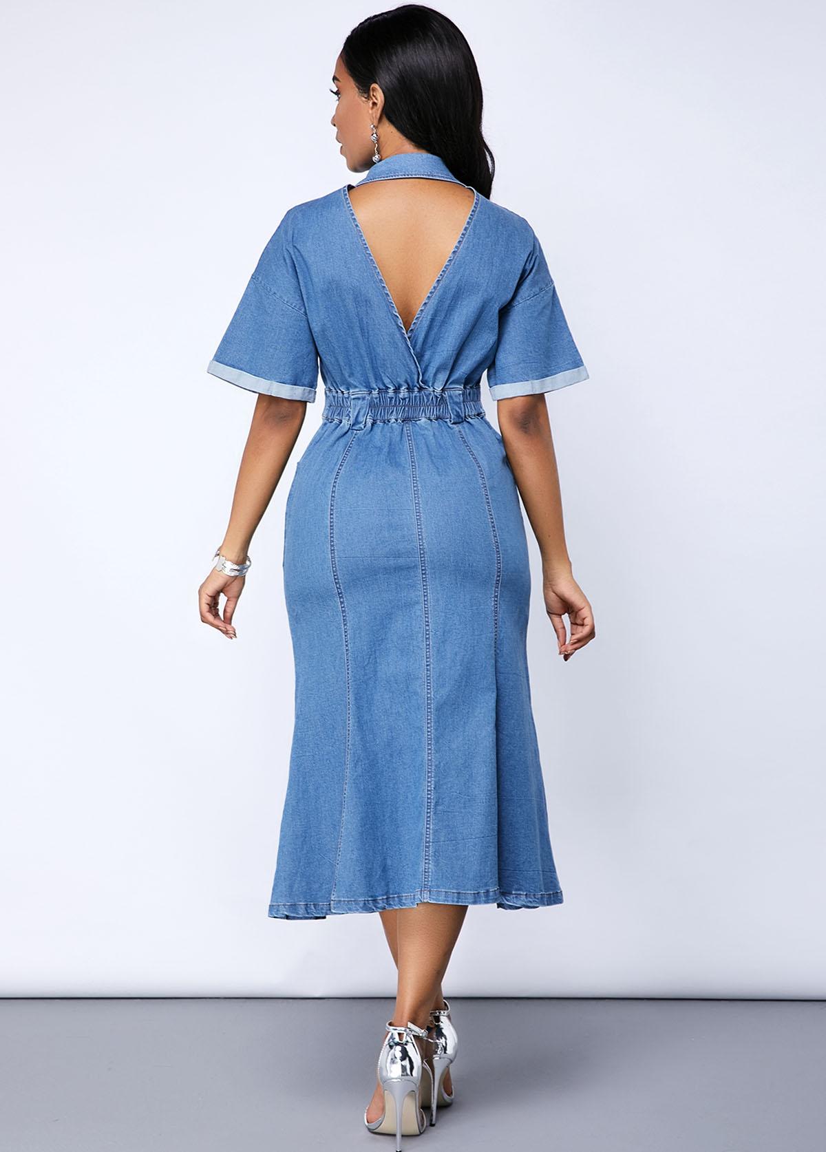 Cutout Back Button Up Denim Pocket Dress