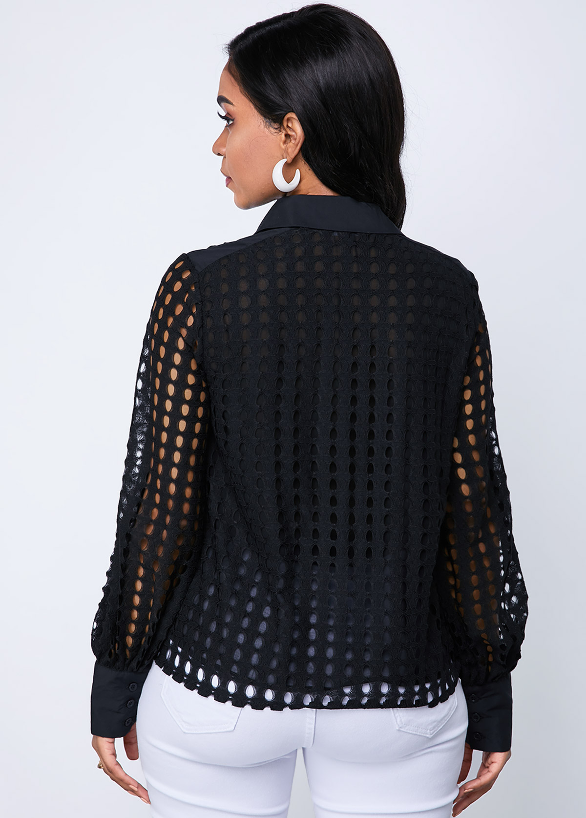 Lace Lantern Sleeve Button Up Blouse
