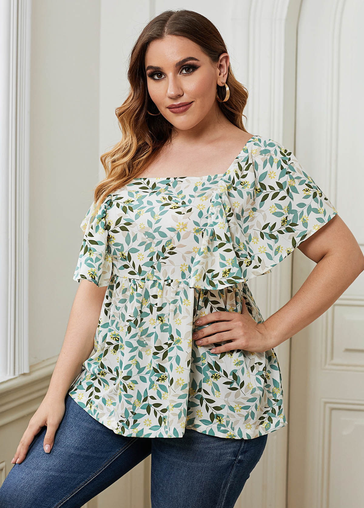 Leaf Print Butterfly Sleeve Plus Size T Shirt