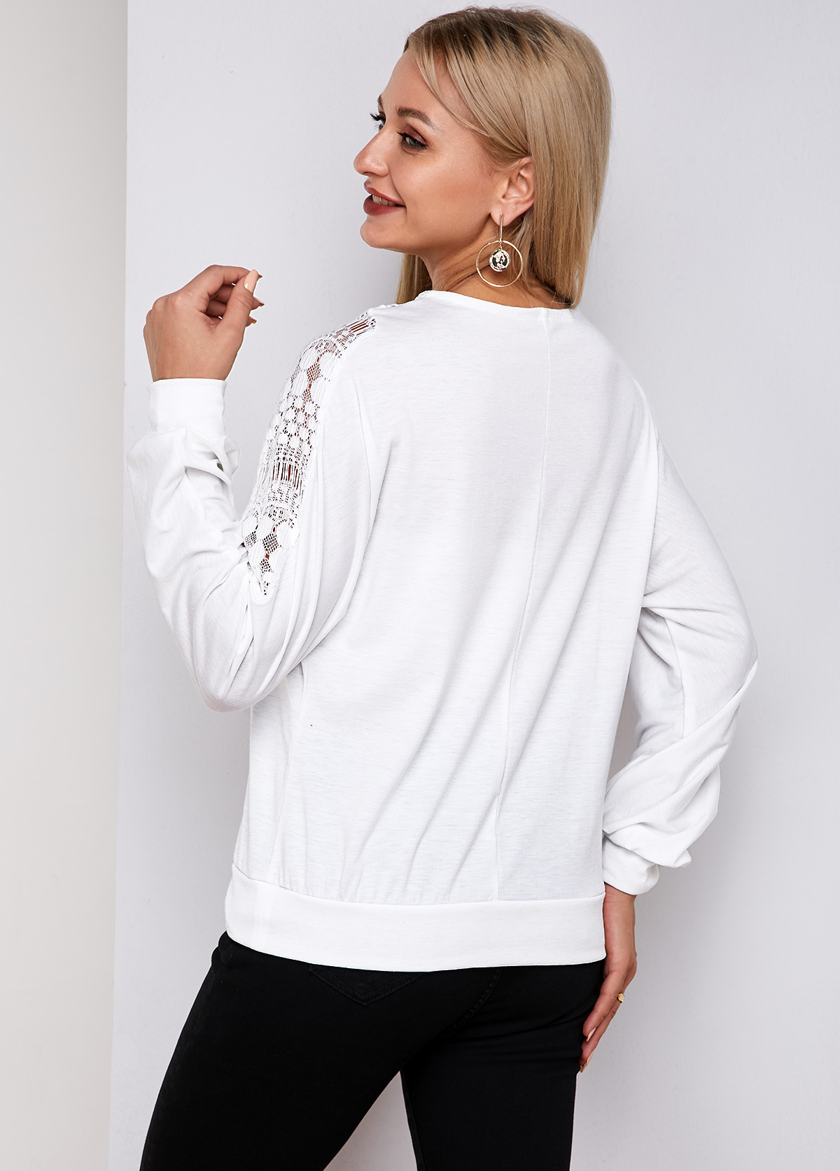 Long Sleeve White Lace Panel T Shirt