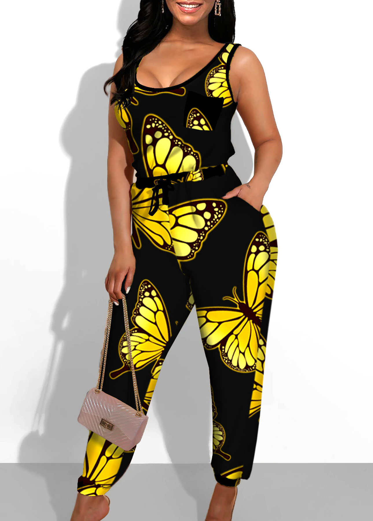 Side Pocket Butterfly Print Black Jumpsuit