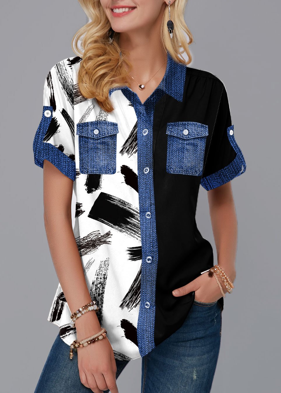 Printed Button Up Chest Pocket Blouse