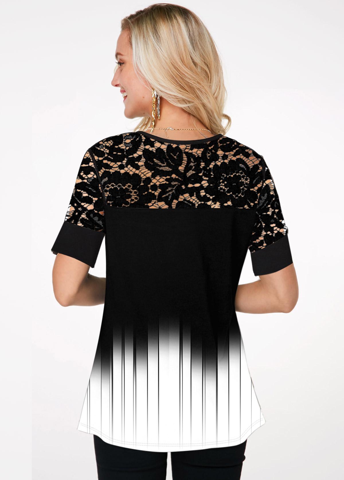 Lace Panel Short Sleeve Gradient T Shirt