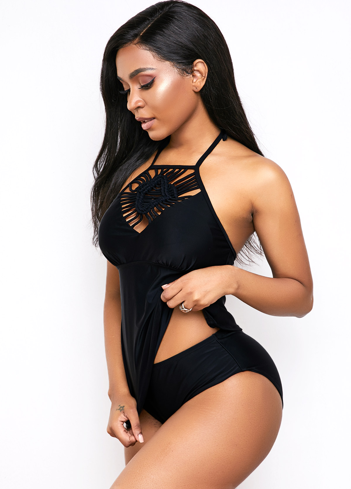 Strappy Front Black Halter Tankini Set