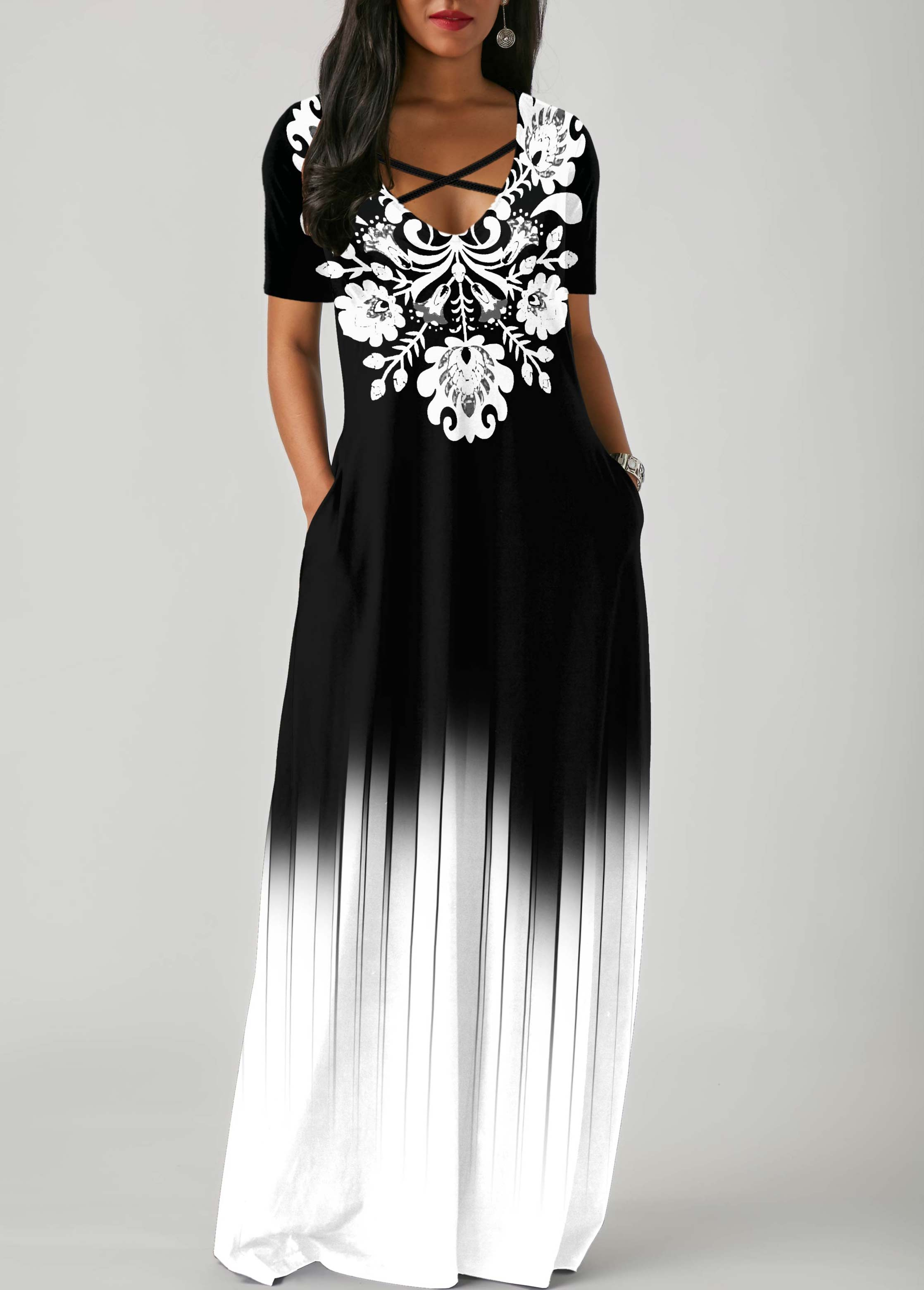 Side Pocket Tribal Print Gradient Maxi Dress